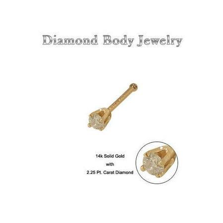 14K Solid Gold Nose Bone with Genuine Diamond Stud 20G 8MM