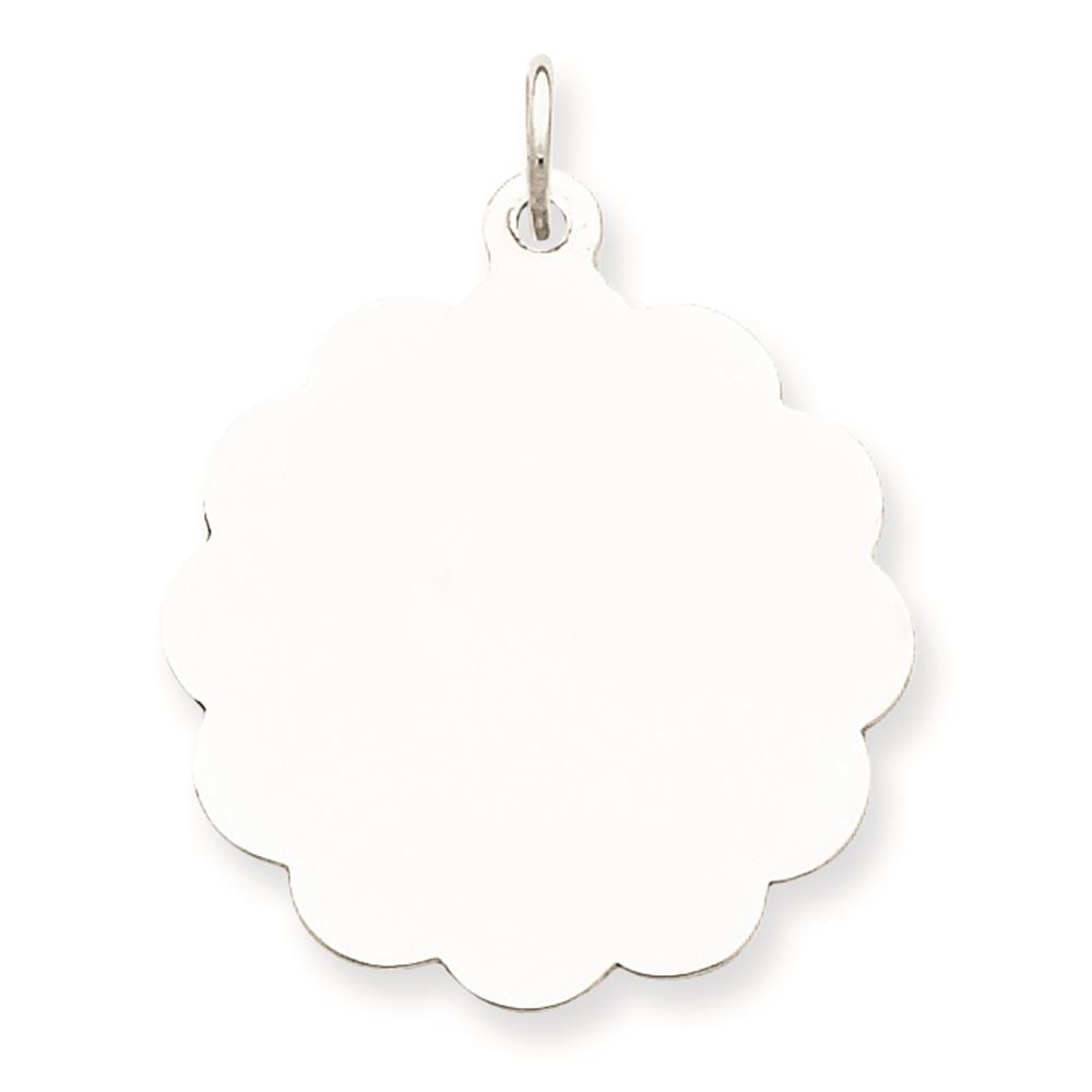 925 Sterling Silver Engravable Disc Charm Pendant 25mmx22mm