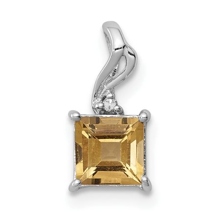 925 Sterling Silver Rhodium Plated Diamond and Citrine Square Shaped Pendant