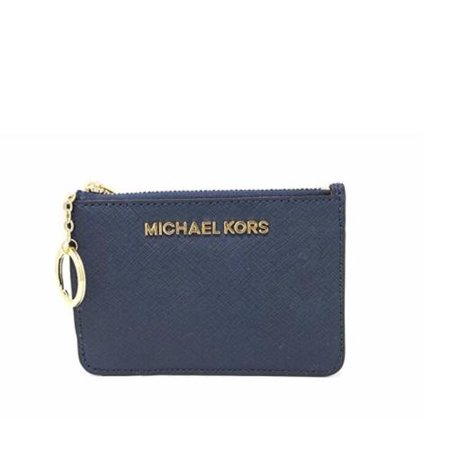 1d5268dabc5a Michael Kors - Michael Kors Saffiano Leather Jet Set Item Small TZ Coin  Pouch Card Case with ID Window (Navy)… - Walmart.com