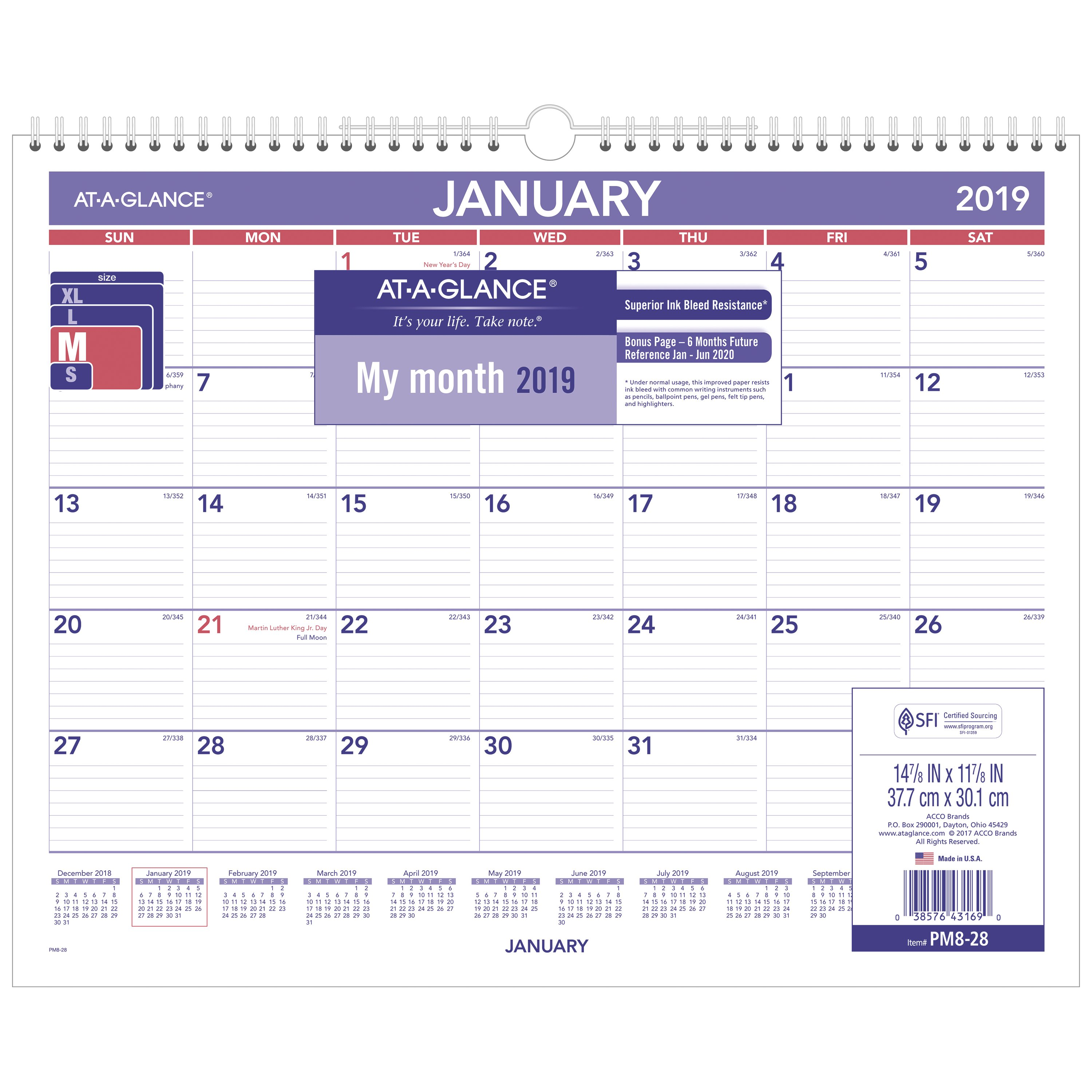"""AT-A-GLANCE 2019 Monthly Wall Calendar, 12 Months,15"""" x 12"""" (PM828) by ACCO BRANDS"""
