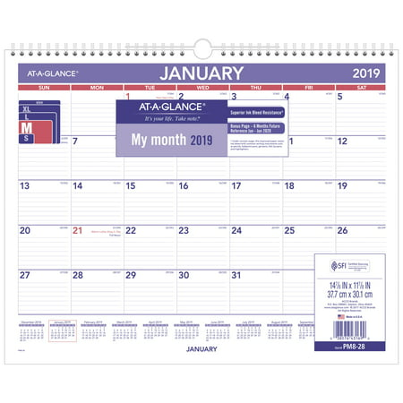 AT-A-GLANCE® 2019 Monthly Wall Calendar, 12 Months,15