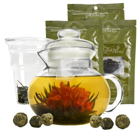 Primula Blossom Glass Teapot  Wide Mouthed Borosilicate Glass  40 oz.  Dishwasher and Microwave Safe  Clear  Incl