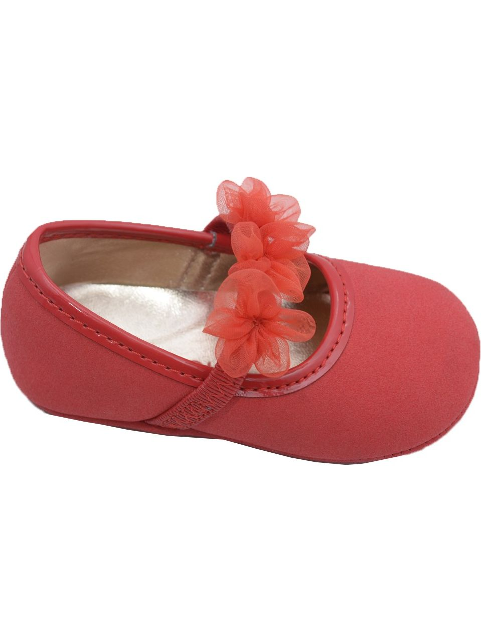 Girls Red Organza Flower Elastic Strap Crib Shoes 0-5 Baby