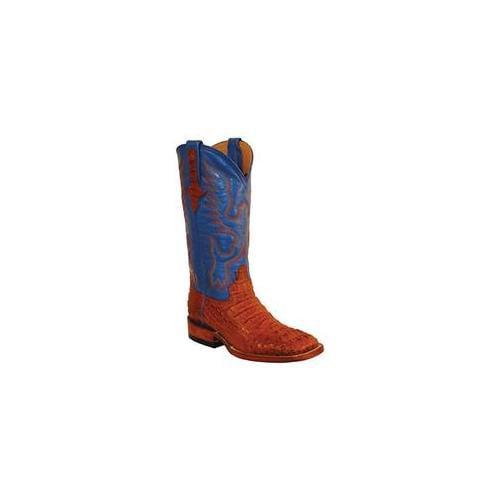 Ferrini 8049302070B Ladies Caiman Square Toe Boots, Cognac 7B by