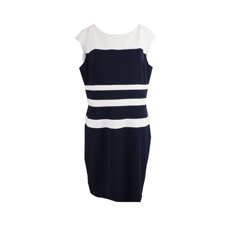 Lauren Ralph Lauren Navy White Sleeveless Striped Sheath Dress 0