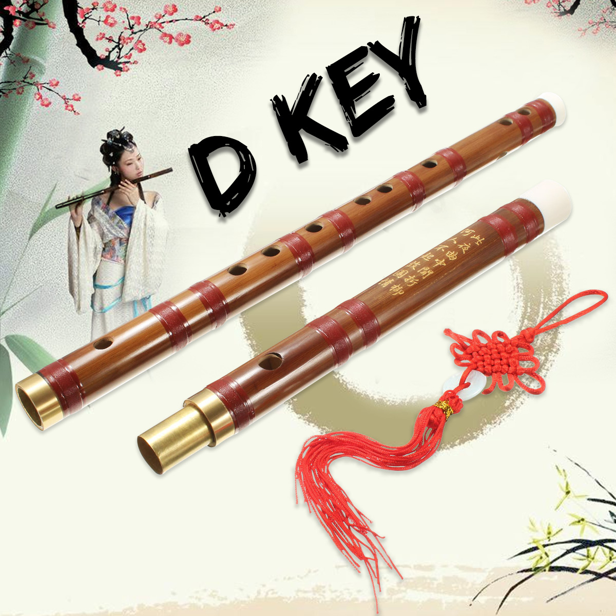 Traditional Handmade D Key Chinese Musical Instrument Bamboo Flute Dizi + Bag + Knot