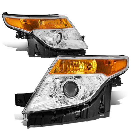 For 11-15 Ford Explorer Pair of Projector Headlight Chrome Housing Amber Corner 5th gen U502 12 13 14 Left+Right