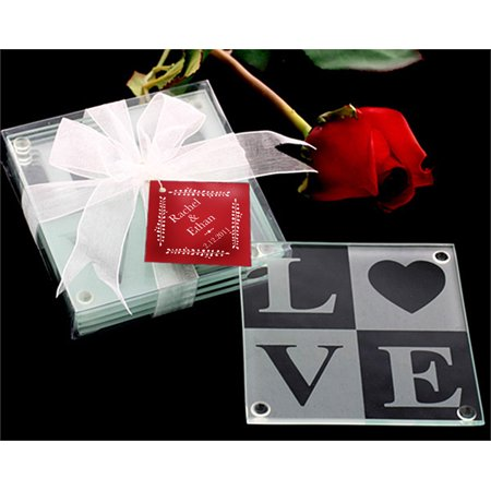 Kate Aspen Love Glass Coaster Gift Set with Ribbon and Thank You Tag (Set of 48)