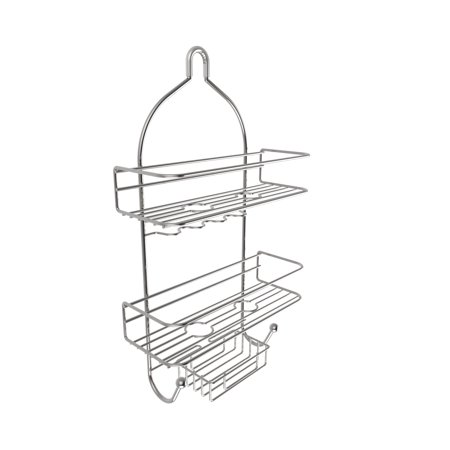 3-Tier Shower Caddy with Shelves and Hooks- Non Slip Grip Showerhead Bath Organizer with Rustproof Corrosion Resistant Satin Finish by Somerset Home