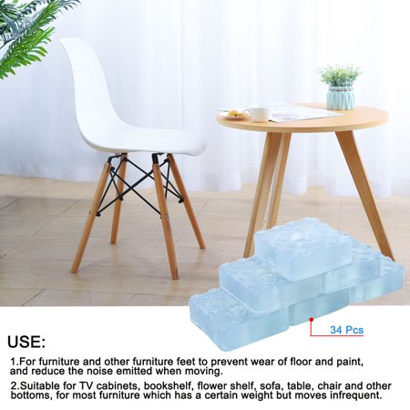 34pcs Square Rubber Feet Furniture Leg Pad Anti-scratch Floor Protector 30x30mm - image 6 of 7