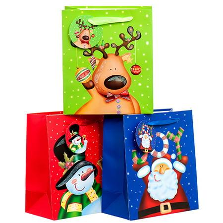 New 378574  Hx Gift Bag Medium Matte W / Glitter Holiday Party Asst Color & Design (12-Pack) Christmas Cheap Wholesale Discount Bulk Seasonal Christmas Gift Bag](Christmas Discount)