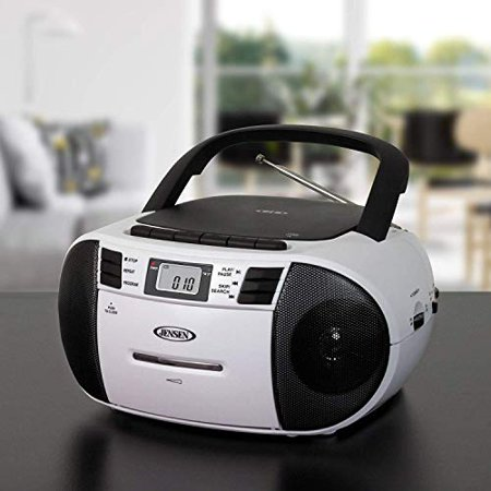 Loading Cassette - Jensen CD-545MP3 Black/White Top-Loading CD/MP3 AM/FM Radio Cassette Player, and Recorder Boombox Home Audio, Aux, Headphone