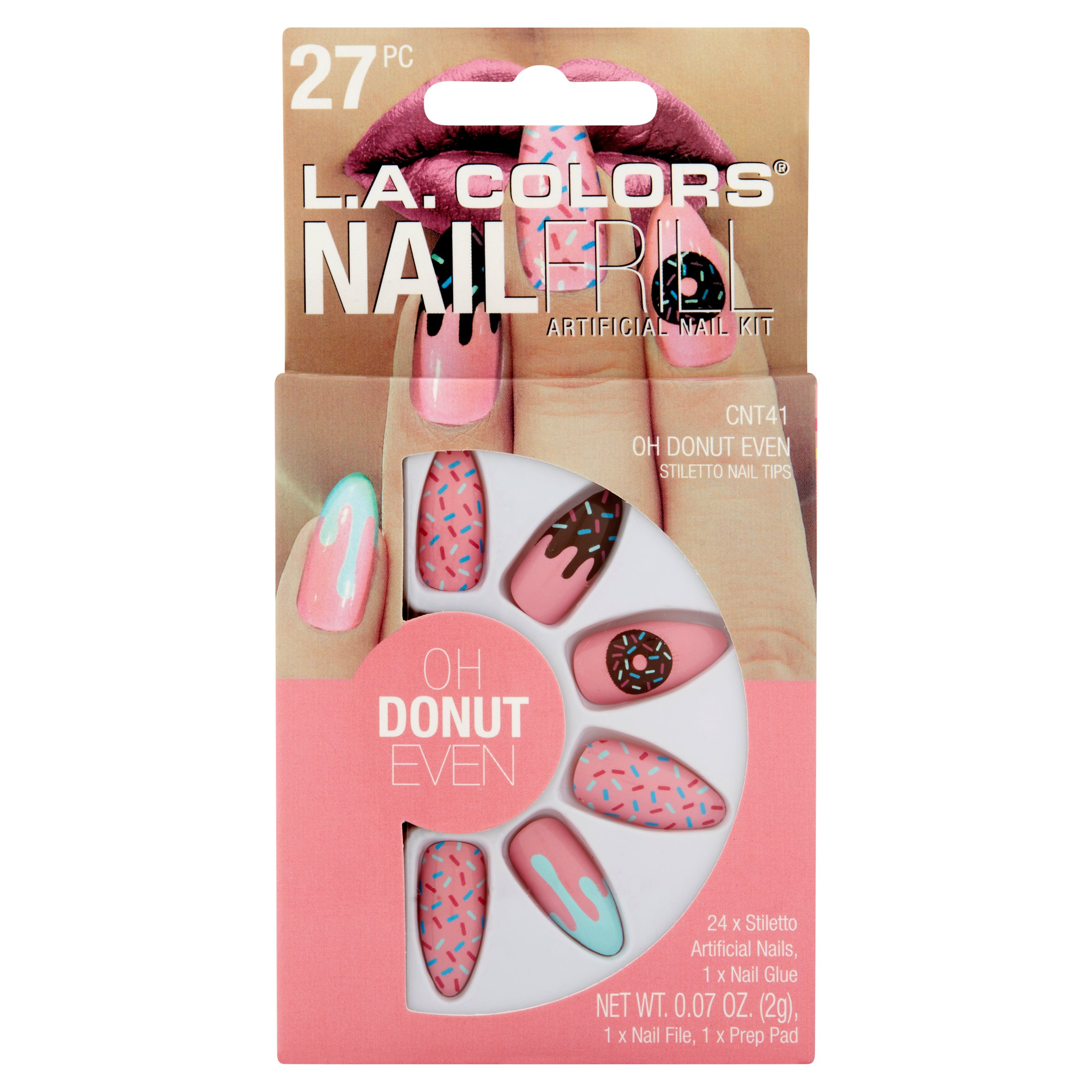 L.A. Colors Nail Frill Artificial Nail Kit, Oh Donut Even, 27 pc ...