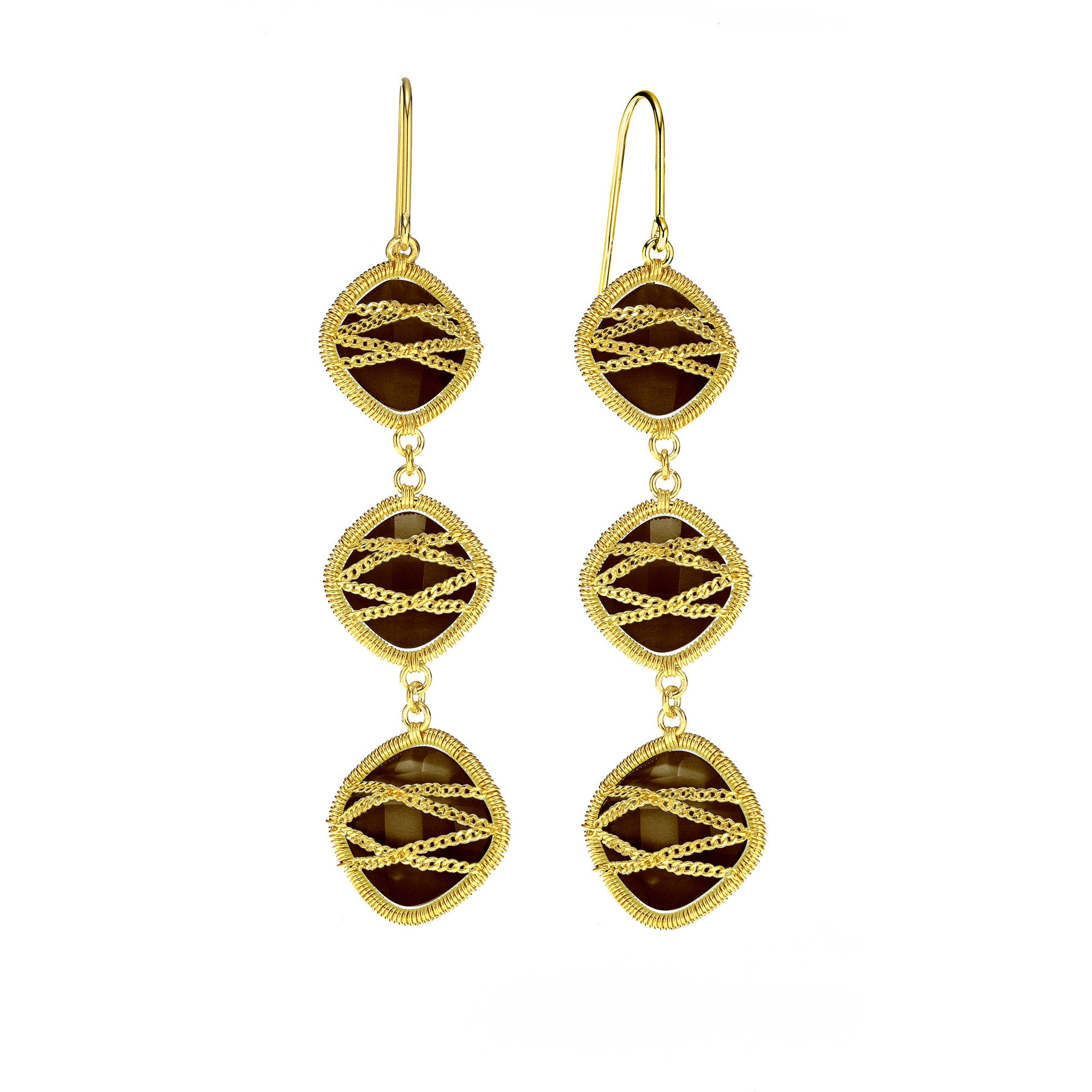 Image of 5th & Main 18kt Gold over Sterling Silver Hand-Wrapped Triple-Drop Squared Smokey Quartz Stone Earrings