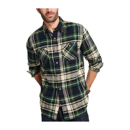 1e19133c2ca0 Weatherproof Mens Brushed Flannel Button Up Shirt navypeony 2XL - image 1  of 1 ...