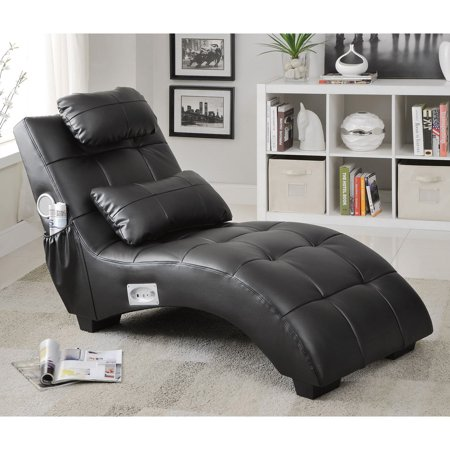 3 Piece Leather Chaise - Coaster 550018 Home Furnishings Chaise, Black
