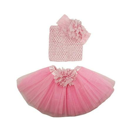 Girls Light Pink Flower Tutu Skirt Lace Headband Set 0-8Y](Girlie Girl Wholesale)