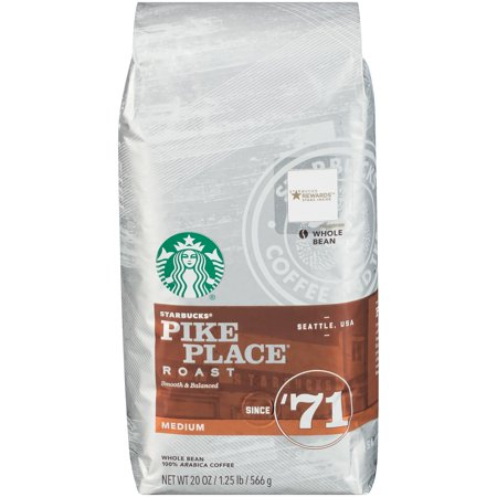 Starbucks Pike Place Roast Medium Roast Whole Bean Coffee, 20-Ounce Bag