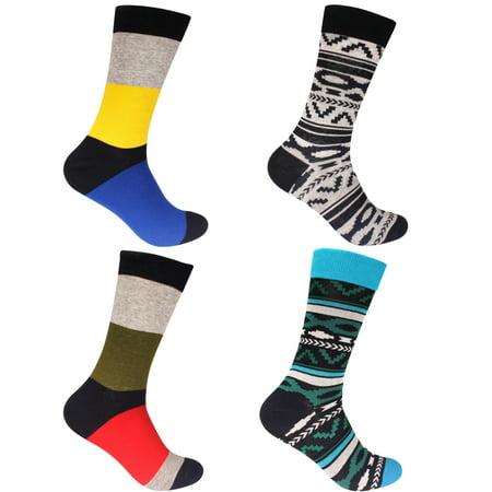 a47292c2df08 BambooMN - Men's Cotton Colorful Design Fashion Novelty Patterned Funky  Designer Argyle Dress Socks - Assortment 4A - 4 Pairs - Walmart.com