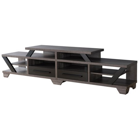 "Furniture of America Dixon 82"" TV Stand in Gray and Black"