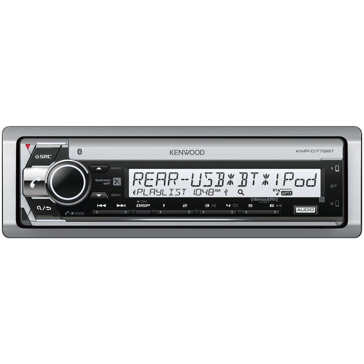 Kenwood KMR-D772BT Marine Single-Din In-Dash CD Receiver With Bluetooth & SiriusXM Ready