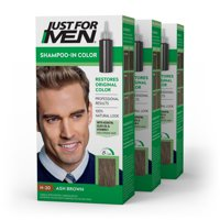 Just For Men Shampoo-In Color, Gray Hair Coloring for Men - Real Black, H-55 (Pack of 3)