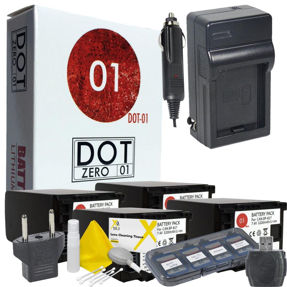 4x DOT-01 Brand 3200 mAh Replacement Canon BP-827 Batteri...