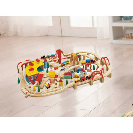 wooden train play set 145 piece best trains train sets. Black Bedroom Furniture Sets. Home Design Ideas