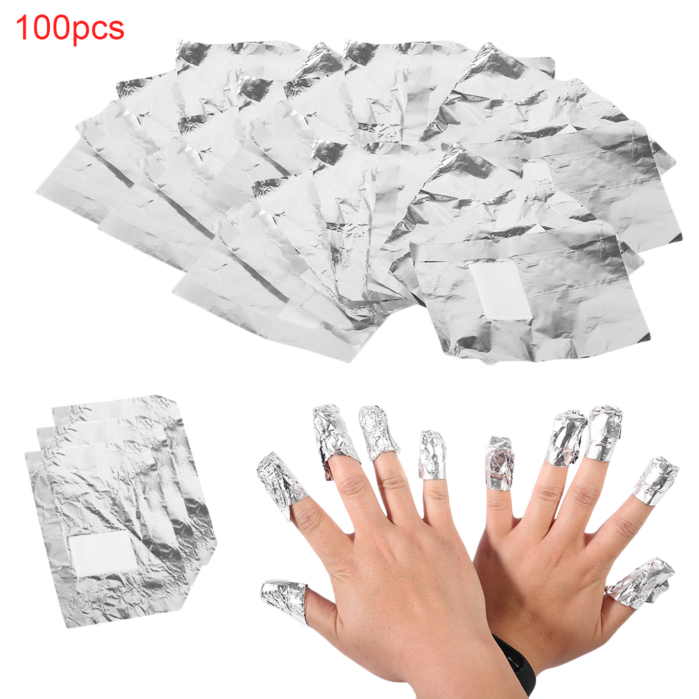 100pcs Aluminium Foil Nail Art Soak Off Acrylic Gel Polish Nail Wraps Remover Nail Gel Cleaner Remover Makeup Tool