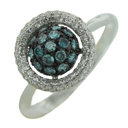 14K White Gold 0.78ct Pave Set Round White and Blue Diamond Double Circle Ring