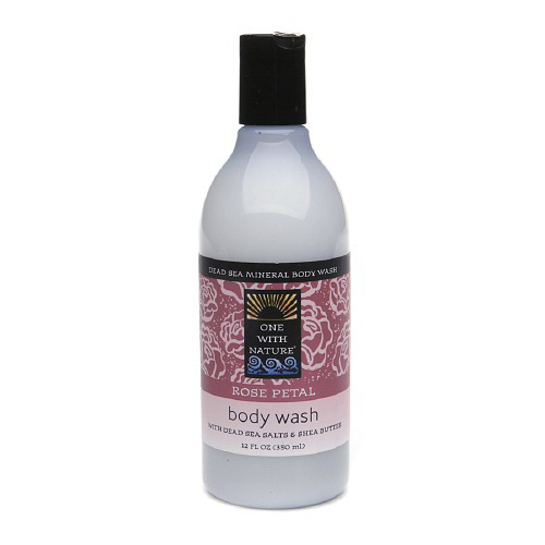 One With Nature Dead Sea Mineral Rose Petal Body Wash - 12 Oz