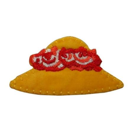 ID 7607 Felt Yellow Sun Hat Patch Flower Fashion Embroidered Iron On Applique](Felt Flower Crown)