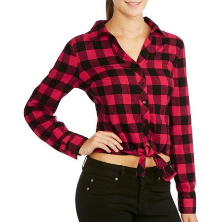 Juniors' Flannel Button Down Tie Front Shirt