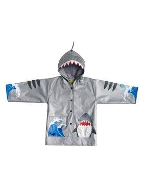 Kidorable Little Boys Grey Shark Mouth Pocket Gills Hooded Rain Coat 2T-6X