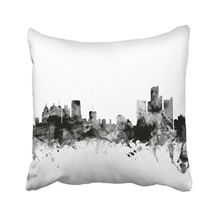 WinHome Fashion Cute Detroit Michigan Skyline Polyester 18 x 18 Inch Square Throw Pillow Covers With Hidden Zipper Home Sofa Cushion Decorative Pillowcases