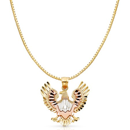 14K Tri Color Solid Gold Eagle Charm Pendant with 1.2mm Box Chain Necklace - 24""