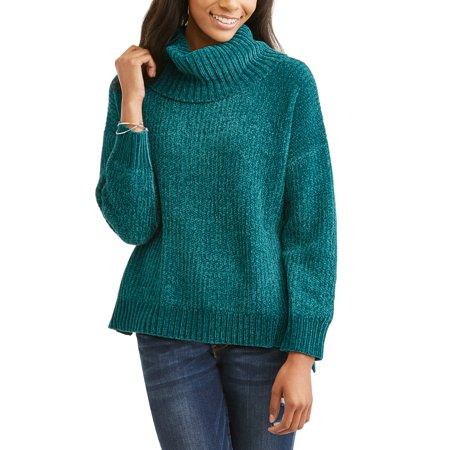 Faded Glory Women's Shiny Chenille Cowl Neck Sweater - Walmart.com