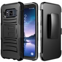 Galaxy S8 Active Case, Dual Layers [Combo Holster] Case And Built-In Kickstand Bundled with Hybird Shockproof And Circlemalls Stylus Pen For Samsung Galaxy S8 Active (Black)