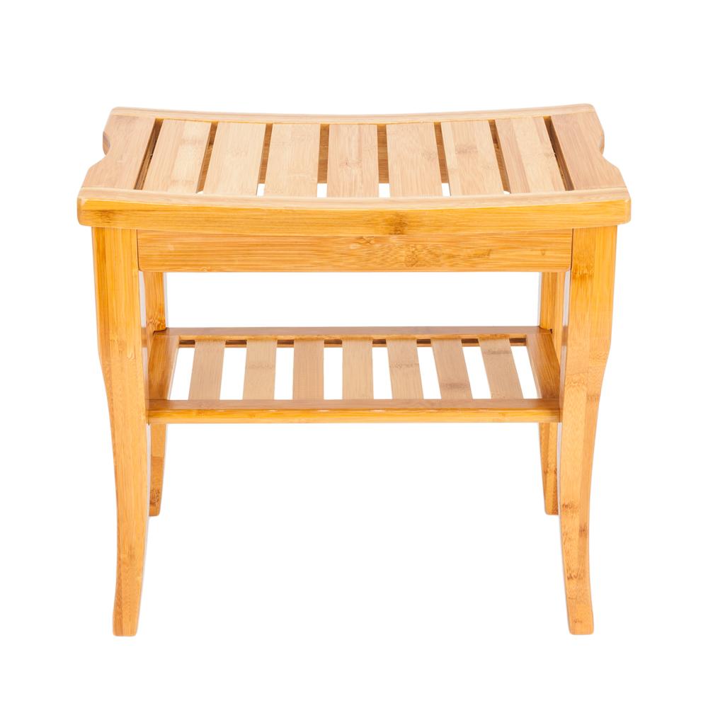 Zimtown Wooden Shower Stool Wood Bathroom Bench Seat Bamboo Bath Spa Sauna Chair Shelf