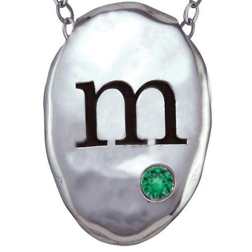 Chroma Sterling Silver Created Emerald Birthstone Initial Necklace Made with SWAROVSKI GEMS H