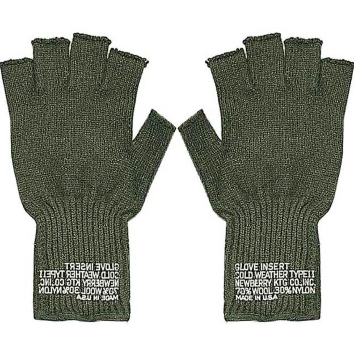 New G.I. Wool Fingerless Glove, Black or Olive Drab