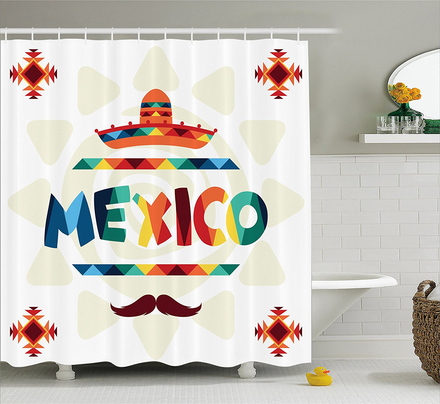 Merveilleux Mexican Decorations Shower Curtain By , Mexico Traditional Aztec Motifs And  Sombrero Straw Hat Moustache Graphic, Fabric Bathroom Decor Set.., By  Ambesonne