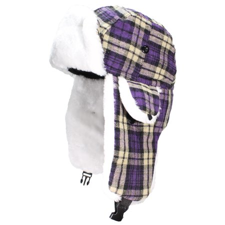 cafe68dce5019 Best Winter Hats - Best Winter Hats Big Kids Quality Tartan Plaid Russian Trapper  Hat W Faux Fur (One Size) - Purple - Walmart.com