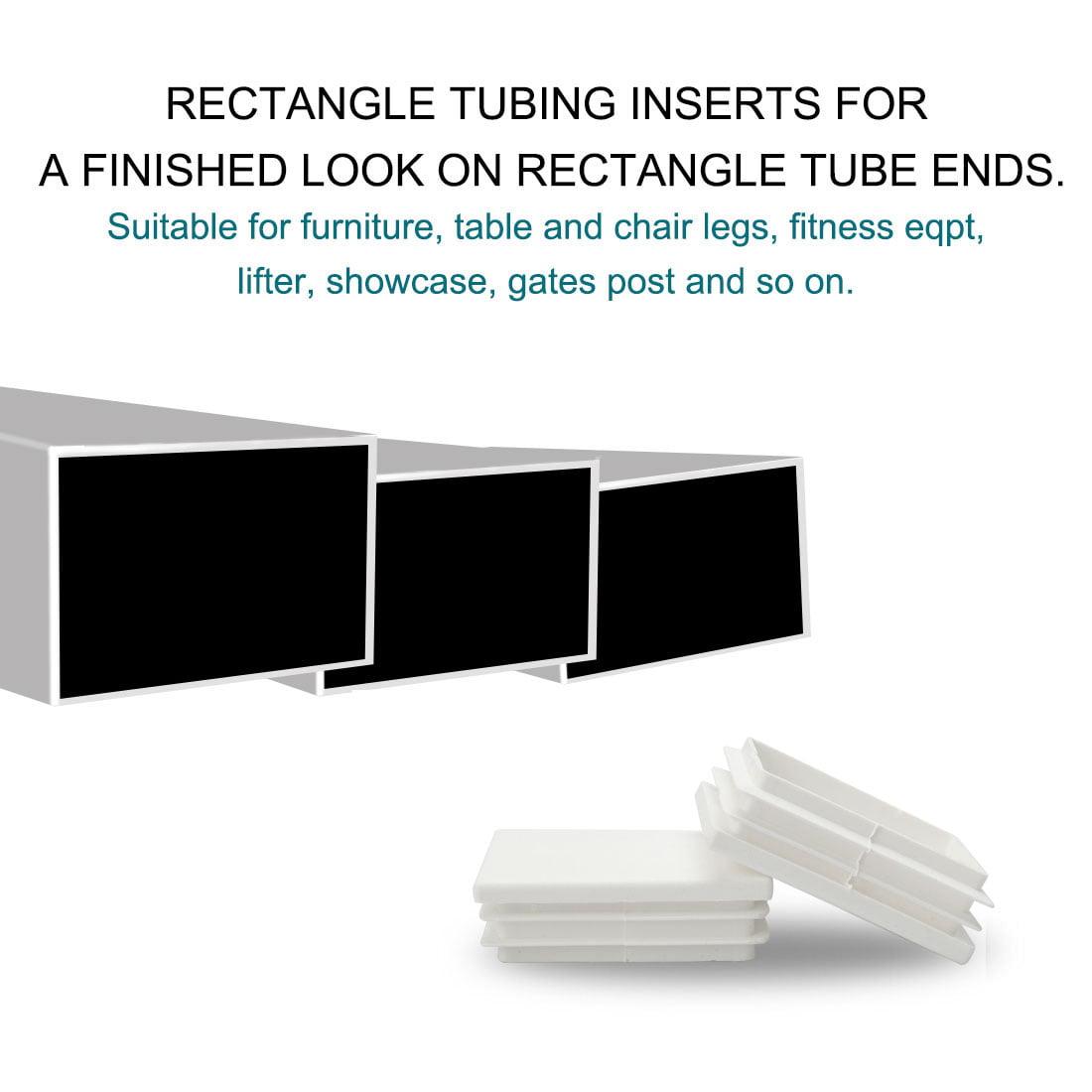 12pcs 40 x 60mm Plastic Rectangle Ribbed Tube Inserts End Cover Cap Table Feet - image 5 de 7