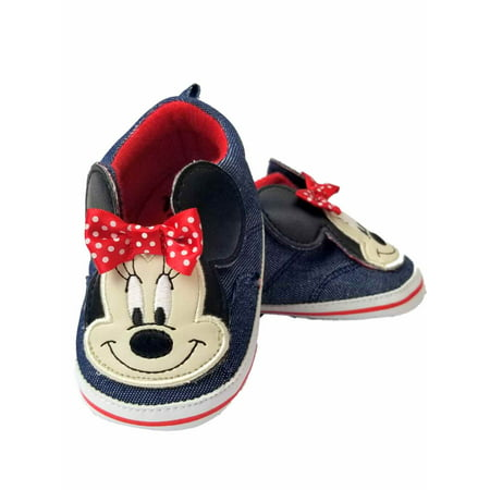 Disney Baby Infant Girls Jean & Red Minnie Mouse Ears Loafer House Shoes](Womens Minnie Mouse Shoes)