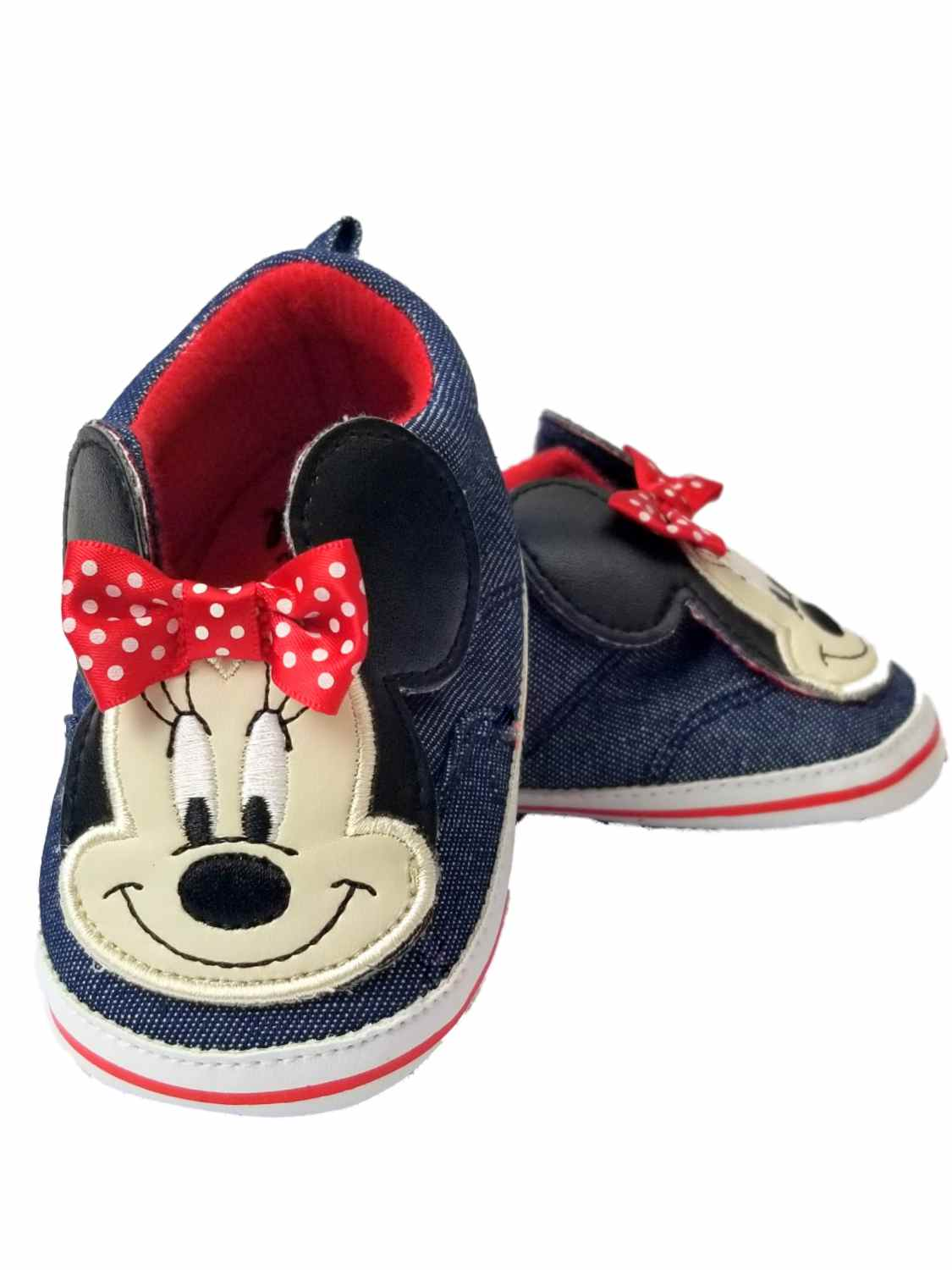 Disney Baby Infant Girls Jean & Red Minnie Mouse Ears Loafer House Shoes
