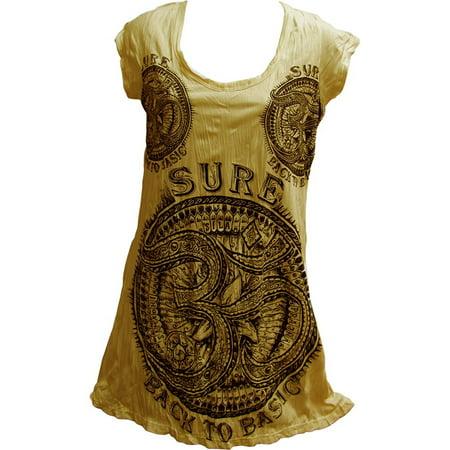 Short Toga Dress (SURE Hippie Yoga Om Crinkled Cotton Short-Sleeve Tunic Dress T-Shirt)