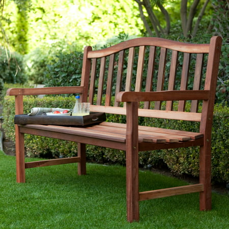 Wooden Bench (Belham Living Richmond Curved-Back 4-ft. Outdoor Wood Bench )