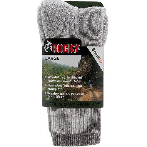 Rocky Wool Blend Hiker Sock, Large, Men's Shoe Size 8–12, 2-Pack